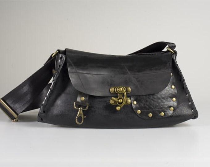Designer purse / handbag. Upcycled black rubber innertube. Waterproof & durable sustainable ethical fashion.