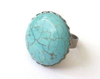Turquoise Ring, Blue Ring, Stone Ring, Boho Ring, Statement Ring, Turquoise Cabochon