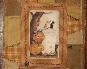 Vintage Halloween Pumpkin Girl Mini Crazy Quilt Prim Collage Hand pieced and Stitched