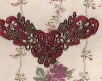 Hand Dyed Edwardian Scroll Venise Lace Applique  Edwardian Christmas