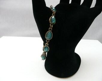 Teal Teardrop and Antique Bronze Link Bracelet