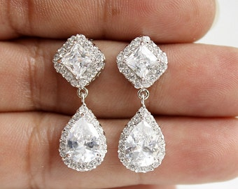 Bridal Earrings Wedding Rose Gold Earrings Clear Cubic Zirconia Posts Teardrop Bridesmaid Earrings Wedding Earrings, Kala Earrings