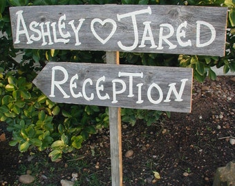 Personalized Name Wedding Sign on Stake Rustic Western Bridal Directional