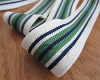 Green, Navy, Cream Elastic Stretchy Strap Fabric- 1 yard