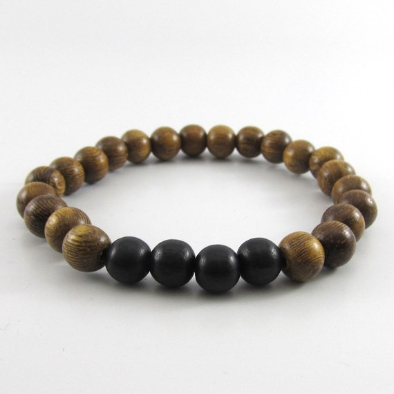 Mens brown robles and black wooden beaded stretch bracelet