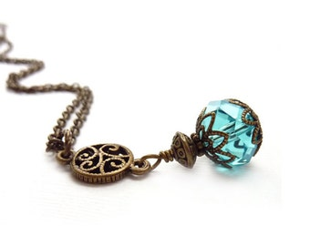 Aqua Blue Pendant - Bronze Filigree - Delicate Charm Necklace - Victorian Vintage Inspired Necklace - Jewelry Gift