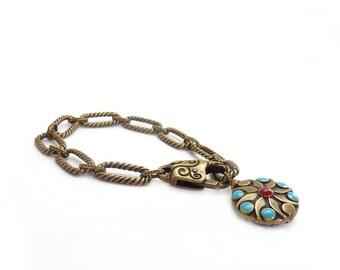 Bronze Chain Bracelet - Charm Bracelet - Turquoise & Coral Charm - Bohemian Bracelet - Gift for Her