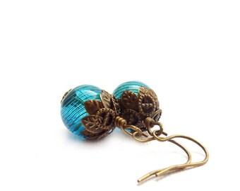 Teal Blue Earrings - Blown Glass - Bronze Vintage Style Dangle Earrings - Blue Yoga Earrings - Antique Style Jewelry