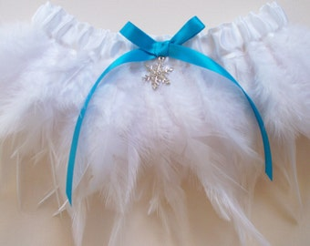 Angel Garter, Feather Fringe Garter with Custom Color Bow and Custom Charm - The SUZANNE