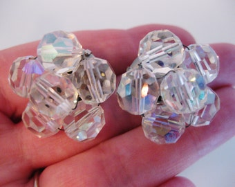 Vintage Faceted Glass Aurora Borealis Beaded Earrings
