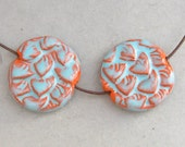Candy Opal Ceramic Beads - Pair of Turquoise and Orange Leaf l Lentil Beads
