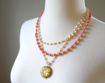 Pink Locket Necklace with Vintage Chain, Multi-Strand Pink Necklace, Locket Necklace, Pink Statement Necklace, Vintage Necklace