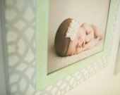 16x20 Open Back Arabesque Distressed Wood Newborn Picture Frame Vintage White,Mint and Gray