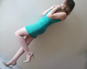 Green stretch dress. aquamarine mini dress summer dresses