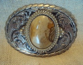 Vintage 1970s Silver Toned Western Style Metal Belt Buckle With Genuine Light Cream and Rust Colored Agate Stone