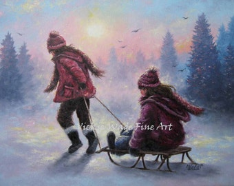 Two Sisters Sledding Art Print sledding two girls playing in snow children wall art snow paintings, Vickie Wade art