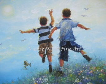 Two Brothers Leaping Art Print, boys room, wall art, two boys, two sons paintings, outdoors, boys playing jumping, blue, Vickie Wade art