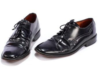 Vintage Mens BROGUES . Vintage 1980s LEATHER Oxfords Dress Derby Shoes Ball Formal Evening . us mens 7.5, womens us 9.5 , Eur 40, uk 7