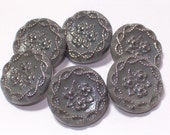 6 Vintage Gray Glass Buttons Beautiful Silver Flowers 19mm Set Sewing Buttons