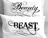 Beauty and the Beast Pillowcases Boyfriend Girlfriend Couple Anniversary Pillowcases for Him for Her