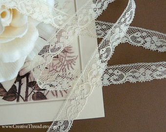 "Cotton Lace Edge - Heirloom Lace - French Cotton Lace - Baby or Doll lace - 1 5/8 Yard Plus 1 7/8 Yard - ECRU/IVORY - 5/8"" Wide - No. 236"
