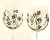 Hand-Painted Wine Glasses - Silver and Black Roses Set of 8 - 25th Wedding Anniversary Bridesmaid Custom Wine Glasses