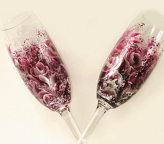 Hand Painted CRYSTAL Champagne Glasses - Purple and Silver Roses, Ready to Ship Set of 2 - Berry Spring Wedding Toasting Flutes Mothers Day