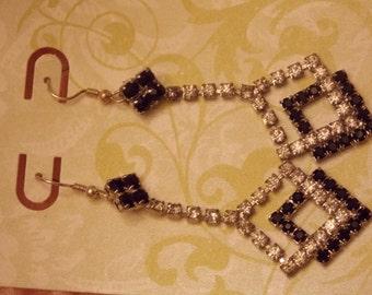 Elegant Black and Clear Vintage Rhinestone earrings converted to pierced