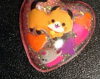 Adorable Orange Glitter Kitten and Mouse Charm