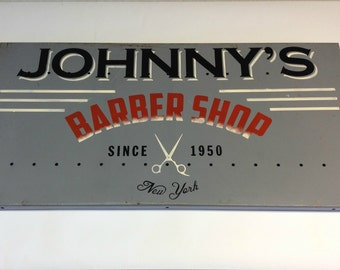 Reclaimed Metal Sign, Industrial Metal Sign, Retro Industrial Sign, Barber Shop Sign, Hand Painted Sign, Industrial Man Cave Wall Decor