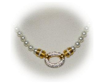 White Pearl Necklace, Rhinestones, Semi Formal, Vintage 1980's