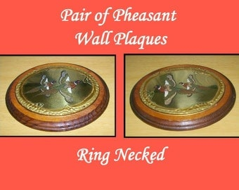 Pheasant Wall Plaques,  Ring Necked, Vintage 1970's