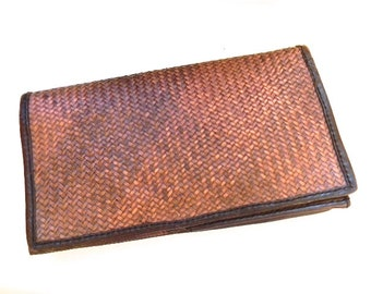vintage.  Large Woven Leather Clutch Wallet