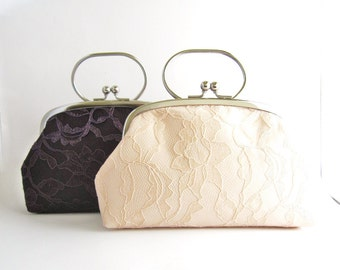 Clutch Purse / Frame Clutch with Handle - Lace Wedding Purse - Bridesmaid Clutch