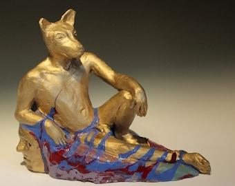 Golden Dog Man, Ceramic Male Nude Figure Sculpture Animal Head Art Object