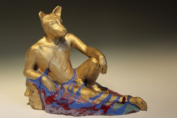 Golden Dog Man, Ceramic Male Nude Figure Sculpture Animal Head Art Object