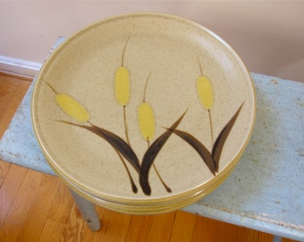 6 Yellow Cattails Dinner Plates Premier Canyon Kraft Meadowland P4052 Japan Stoneware Eames Mid Century Mod Style