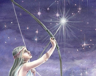 Shooting Stars - fantasy fairy gothic art by Deanna Bach Art