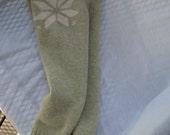 Upcycled wool leggins/mint/snowflake/large