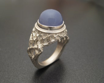 Sterling Tree Ring with Blue Chalcedony