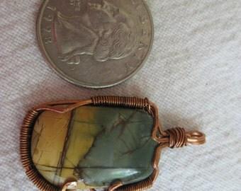 Green picture jasper copper wire wrapped pendant