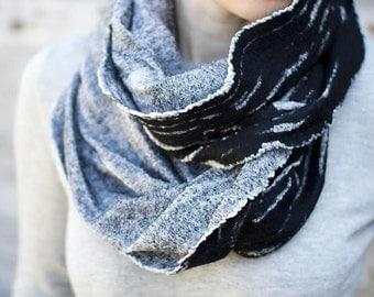 Black chunky scarf white felted cowl infinity scarf unisex fashion scarf wool hood classic boho scarf stripped cowl men scarf summer scarf