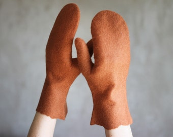 Caramel felted mittens merino wool gloves light brown mittens women winter accessories Christmas gift - ready to ship