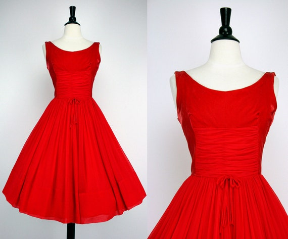 60s dress vintage cocktail party dress christmas red velvet ruched
