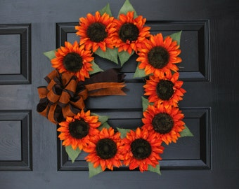 "Orange Sunset Sunflower 22"" Wreath // Front Door Wreath // Large Wreath //  Wreaths for Door // Sunflower  Wreath"