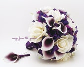 Bridal Bouquet Real Touch Picasso Callas White Roses & Purple Hydrangea Real Touch Rose Grooms Boutonniere Purple Plum White Wedding Bouquet
