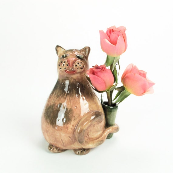 Calico Cat, Kitty Ceramic Sculpture flower vase, Handmade Sculpture, Stoneware figurine, Spring Easter Home decor, Mother's Day gift