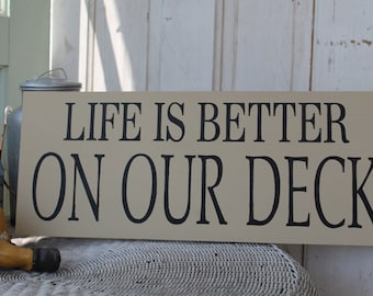 Life is better on our Deck sign, Life is better at the Lake, Cottage, or Lodge primitive subway sign art
