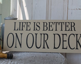 Rustic Life is better on our Deck sign, Life is better at the Lake, Cottage, or Lodge primitive subway sign art