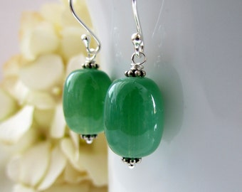 Green Aventurine Earrings, Soft Green Earrings, Sterling Silver, Stocking Stuffer, Green Earrings, Gemstone Earrings, Gifts for Her